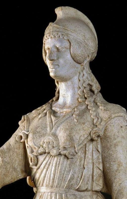Musée Ste-Croix de Poitiers: Statue d'Athéna (détail), copie romaine (1° ou II°s) d'une oeuvre grecque du V°s av J.C Trouvée dans une villa suburbaine de Poitiers en 1902.