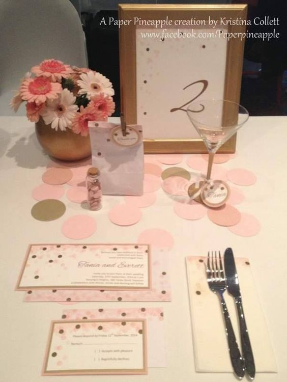 """""""Confetti"""" setting featuring invitation with matching envelope, RSVP card, napkin, bonbonniere, wine glass tag, table number and confetti jar. Can be created in a range of colours to suit your event. Available from Paper Pineapple www.facebook.com/Paperpineapple"""