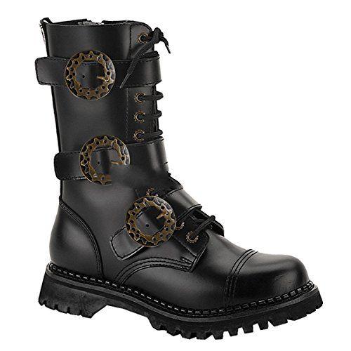 Demonia Steam-12 - Gothic Steampunk Industrial Leder Stiefel Schuhe 36-48