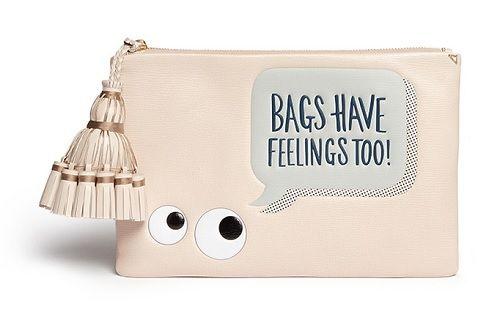 Lane Crawford Exclusive Designer Bags    Anya Hindmarch 'Georgiana Bags Have Feelings Too!' Capra Leather Clutch   $1,005 on Lane Crawford