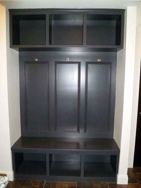 Various ideas of mudroom bench dark stained built in mud for Garage seat guilherand granges