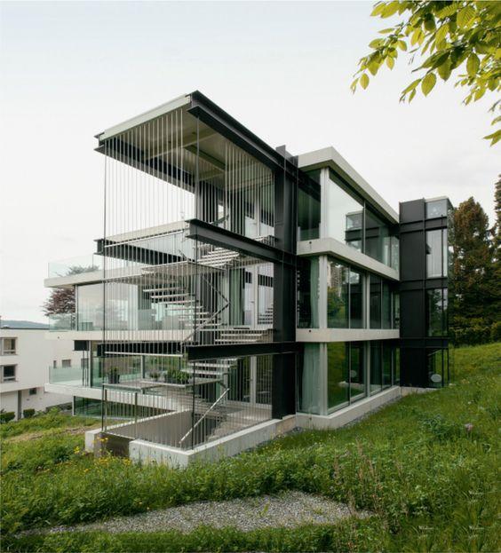 Christian Kerez - House Müller (house with a missing column), Zürich 2014. Scans via, photos © Mikael Olsson, Hisao Suzuki.