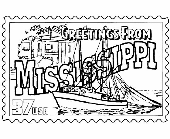 Mississippi State Stamp Coloring Page USA Coloring Pages