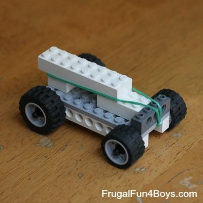 """Rubber Band Powered Lego Car x2 (it annoys me to no end that this comes from a """"Frugal Fun for BOYS"""" page, apologies for that)."""