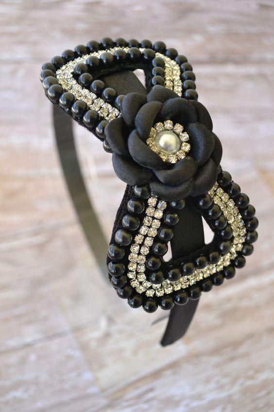 Diadema de perlas negro arco niño venda por LilMajestyBoutique