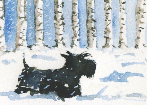 Scottish Terrier Dog, Art Print 'Scottie Dog in the snow' 8X6 inch #15