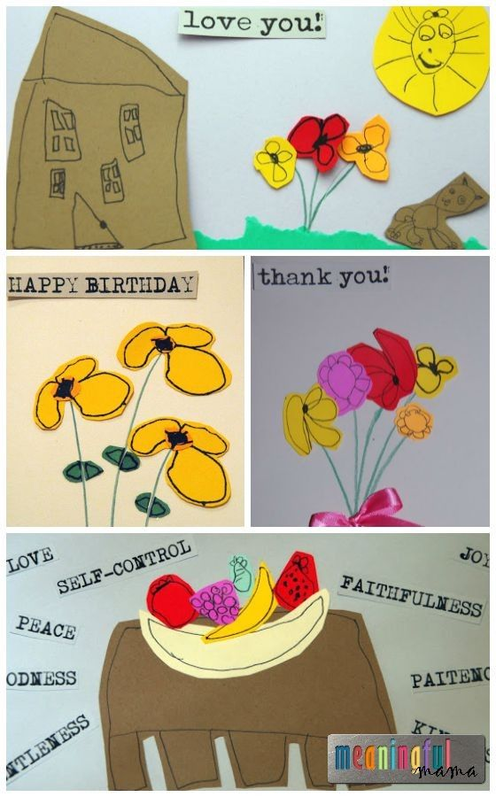 Cards Made from Children's Drawings - Children's Art Cards