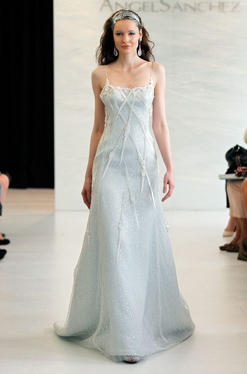 An icy blue wedding dress from the Angel Sanchez bridal runway, Spring 2013.  See more #wedding fashion & beauty: http://ccwed.me/KIp6ZC