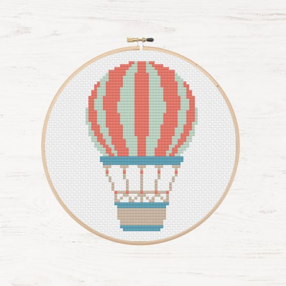 Hot Air Balloon Cross Stitch Pattern Summer Bohemian Instant Download Retro Pattern Gondola Wicker Bascket Adventure Cross Stitch Balloon by Stitchonomy