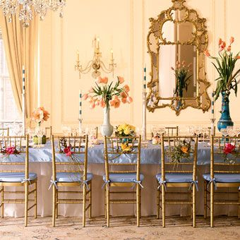 French chateau feel with tall vases