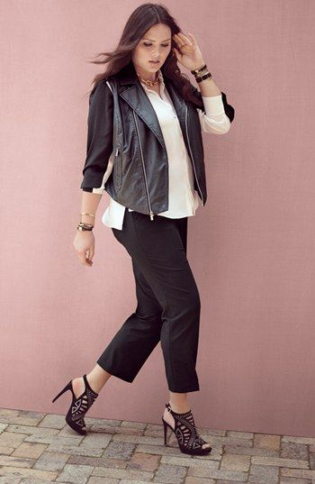 Plus Size Leather Moto Vest VInce Camuto
