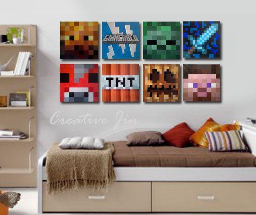 Minecraft inspir de peinture murale toile 12 x 12 chambre des gar ons l 39 original for Peinture acrylique sur toile