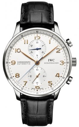 IWC Portuguese Chronograph Steel Dial Rose Gold Hands