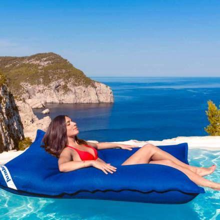Pouf piscine bleu foncé géant - Pouf flottant JumboBag sur Pouf Design