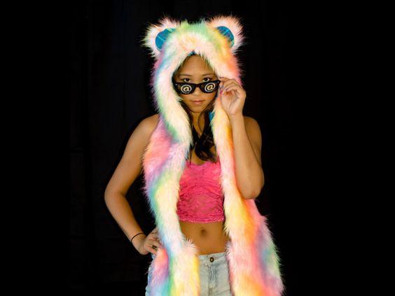 Trippy Bear Rave Ready Fuzzy Hood by ProjectFuzzy on Etsy, $89.00