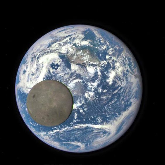 The moon passed between Nasa's Deep Space Climate Observatory and the Earth, allowing the satellite to capture this rare image of the moon's far side in full sunlight. We normally don't see this side of the moon. As the moon is tidally locked to the earth and doesn't rotate, we only ever see the one face from the earth. Awesome shot!  12/15