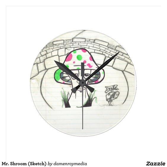 Mr. Shroom (Sketch) Round Wallclocks