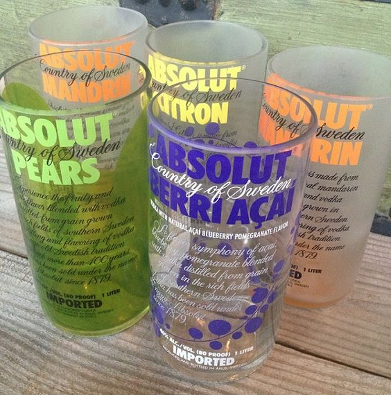 absolut drinking glasses made from empty liquor bottles in