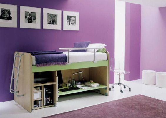 Multifunktionales Schlafzimmer gestalten lila wandgestaltung akryl ...