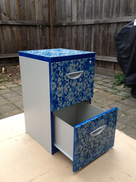 Filing cabinet revamp: 1. Tape/ cover any part you don't want to spray paint 2. Use lace and cover desired section 3. Select your favorite spray paint colour 4. Spray paint over lace 5. Once dried, remove lace and discover your new master piece: