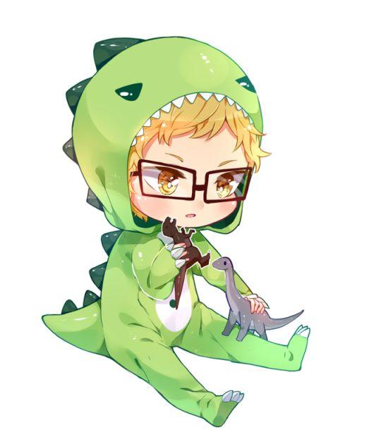 """""""Tsukki-rex"""" i mean """"T-rex"""" <3 Roaaaar!!"""