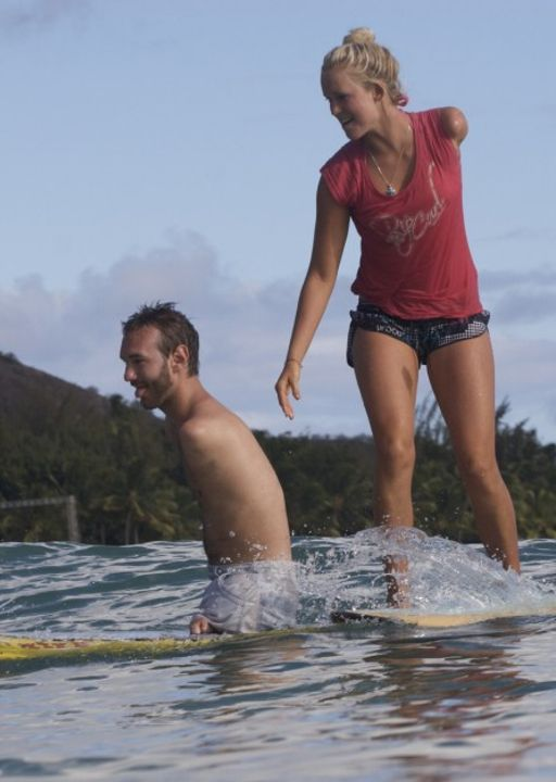 Pinner said: We can face whatever life throws at us if we have God in our life. both of these people have beautiful Christian testimonies. Nick Vujicic surfs with Bethany Hamilton: http://vimeo.com/12219491