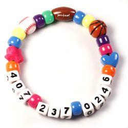 Mom's cell phone number bracelet, when traveling with little ones in airports, at amusement parks, school Field Trips. What a great idea!!!