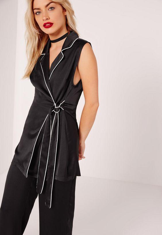 Contrast Piped Sleeveless Long Waistcoat Black