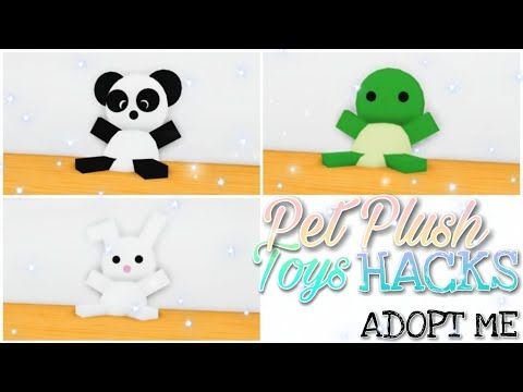 9 Pet Plush Toys Hacks Panda Bunny Turtle Adopt Me Building Hacks Youtube Animal Room Adoption Roblox Plush