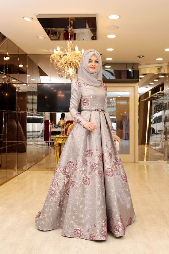 Long embroidered grey frock with hijab for party