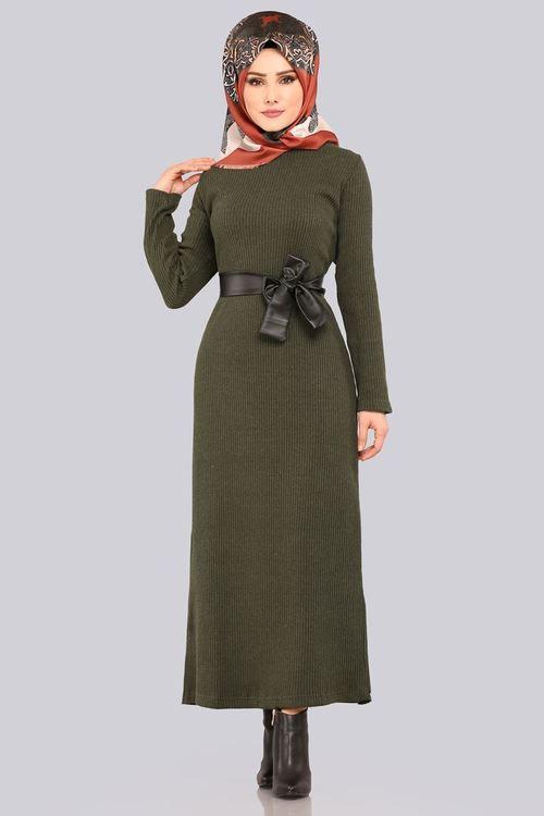 Modaselvim 49 Tl Deri Detay Triko Elbise Akt3100 Haki Elbise Triko The Dress