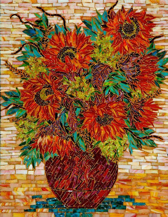 """RED SUN FLOWERS"" by Larissa Strauss. Glass mosaic, 28"" x 20,"" 2006."
