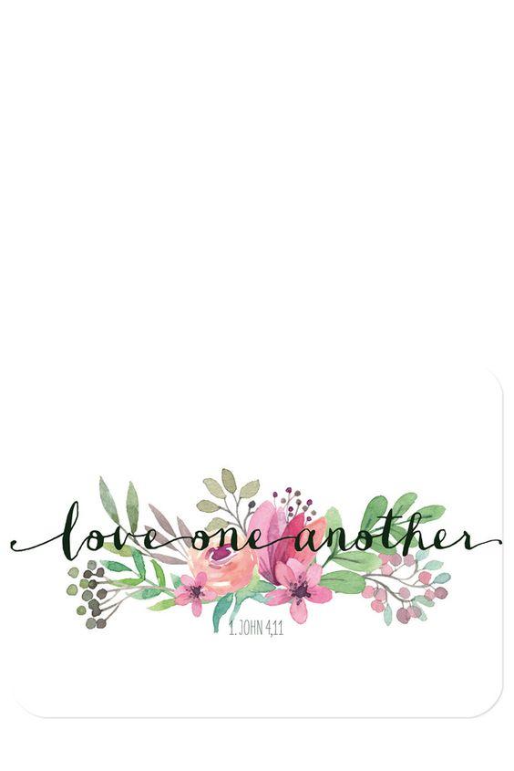 """Bibelvers auf der Postkarte: """"Love one another"""" - 1. John 4,11"""
