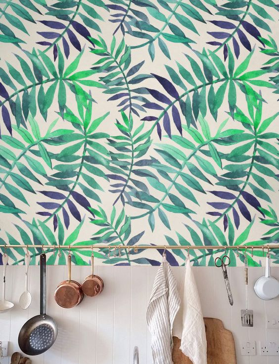 Feuille de palmier wallpaper fond d cran amovible for Decoration murale jungle