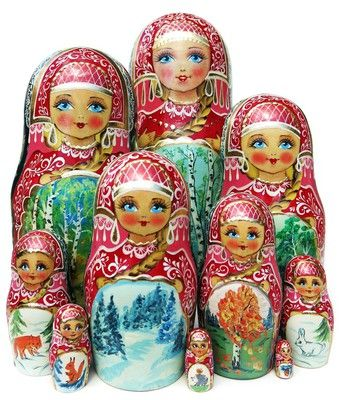 Four seasons in a forest are hand painted on this nice 10 piece Russian babushka nesting doll. Free shipping. Only 1 available. Buy now and save.: