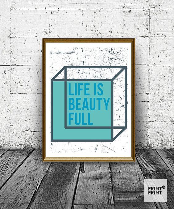 Life is Beauty Full print, wall art prints, typography, blue and electric, scandinavian art, minimalist print, poster, prints, wall decor