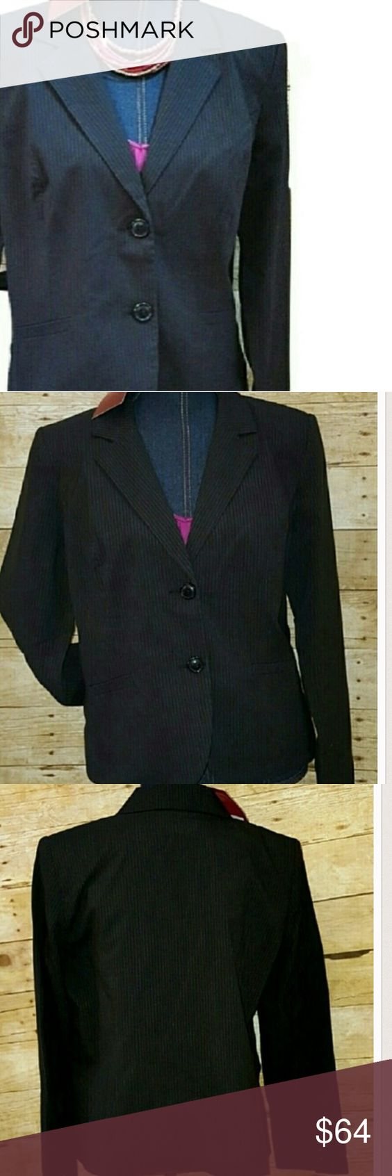 """NWT 16 Black Pin Stripe Button Blazer Jacket Plus Gorgeous and slimming 212 Collection black pin-stripe career or casual two-button blazer/ suit jacket. Gorgeous and perfect for fall. Works beautifully with a variety of colors. Featuring a double button closure and slimming pin-stripes. NEW w tags/ NWT. Shell: 71% polyester 27% rayon 2% spandex. Fully lined (poly). Listing is for jacket.Purchased at Kohls. Approximate flat measurements: bust 22"""" length 24"""". Thanks for understanding this is…"""