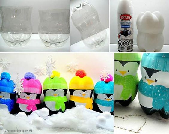 THESE VERY CUTE PENGUINS ARE MADE FROM PLASTIC BOTTLES 2 LITRE SIZE (   egloos )