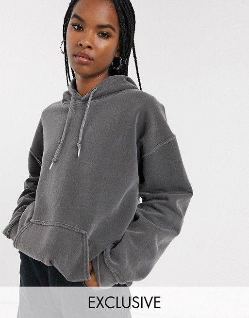 Reclaimed Vintage Inspired Overdye Charcoal Hoodie Asos In 2020 Reclaimed Vintage Faux Fur Hoodie Hoodies