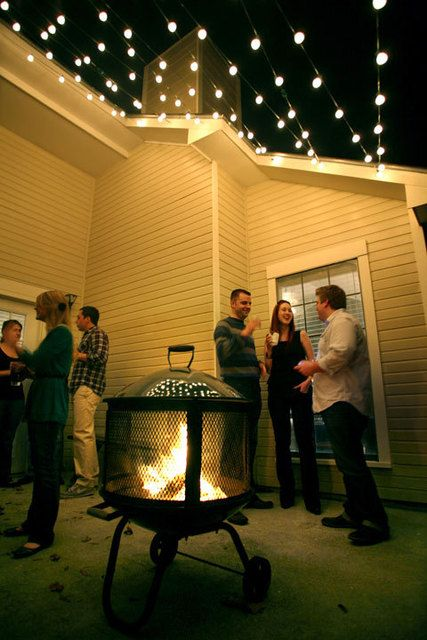easily add string lights overhead for instant outdoor party lighting shop online for various lengths backyard string lighting ideas