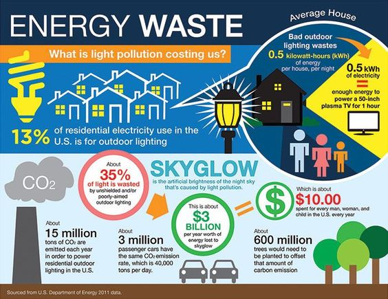 Turn off the lights. Light pollution impacts energy use, wildlife and health.