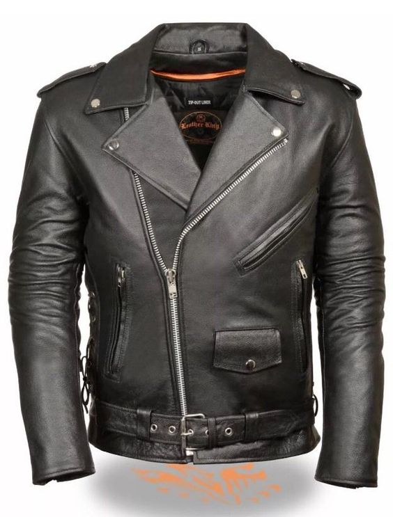 Mens Black Leather Police Style Motorcycle Jacket w Half Belt in Clothing, Shoes & Accessories, Men's Clothing, Coats & Jackets | eBay