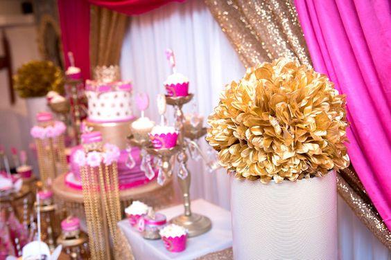 Gold pom pom pedestal from a Royal Princess Baby Shower on Kara's Party Ideas | KarasPartyIdeas.com (25)