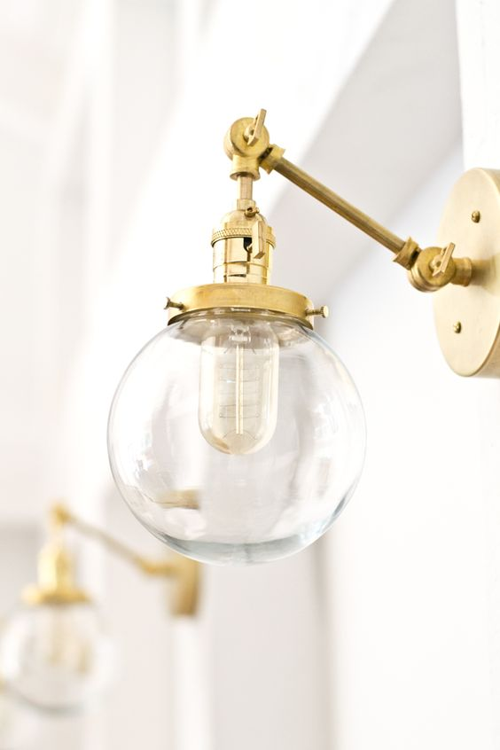 Sconces Brass And Globes On Pinterest