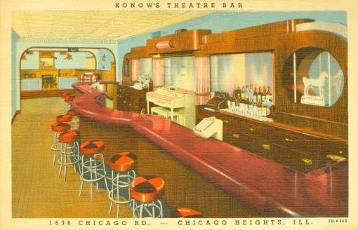 Konow's Theatre Bar 1942  This must've been a popular pre-fab back bar - seen it so many places.  #retro #restaurants