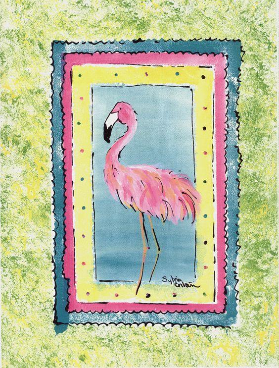 Bird - Flamingo Flag Canvas House Size