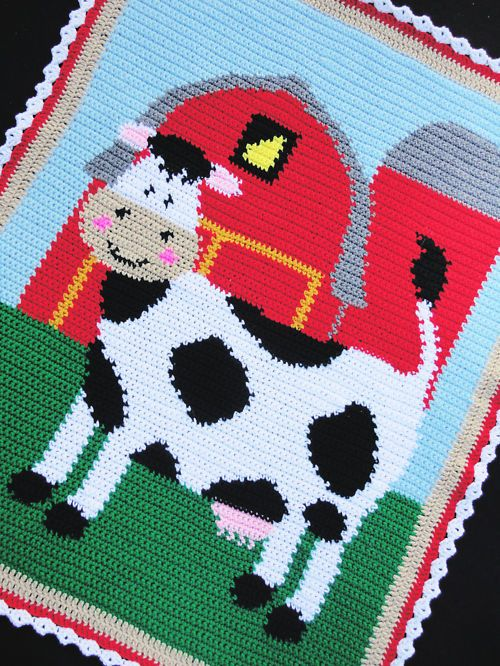 Crochet Patterns - BARNYARD FARM ANIMALS Afghan Pattern ...