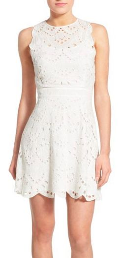Scalloped Eyelet Fit & Flare Dress