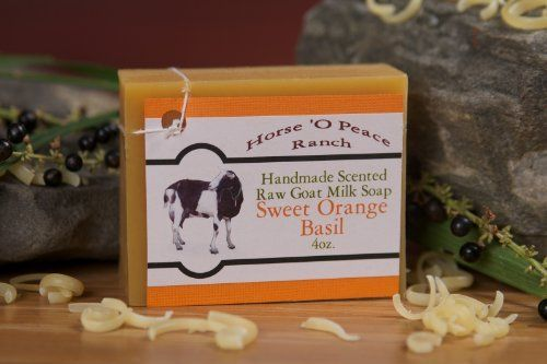Handmade 100% Raw Goat Milk Sweet Orange Basil Soap (4oz./Bar) by Horse 'O Peace Ranch. $4.39. Using Sweet Orange, and Basil Essential Oils. All ingredients are listed on the back of each label. Bars are all hand poured and hand cut. Soaps are sold per 4oz. bar.. No dyes or artificial colorings. Made with 100% RAW Goat Milk (No Water Added). No chemical fragrances. Made especially for people with sensitive skin. Lasts 4 to 6 weeks depending on usage. Made with essentia...