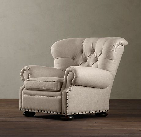 Here's the non-leather option of the Churchill Upholstered Reading Recliner... it comes in an array of beautiful fabrics. I would love to curl up in this chunky, tufted recliner and re-read the Twilight series or the Hunger Games....